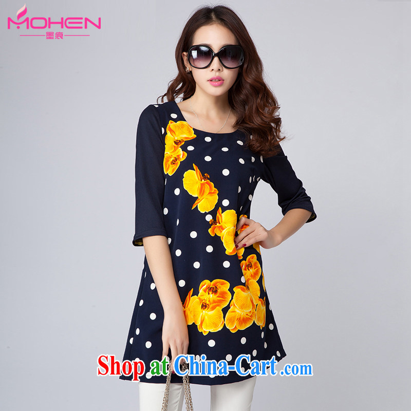 The ink marks 2015 summer new, larger female Korean version mm thick and fat increases, with the point in stamp duty cuff dress blue 3 XL _135 - 145 _ jack