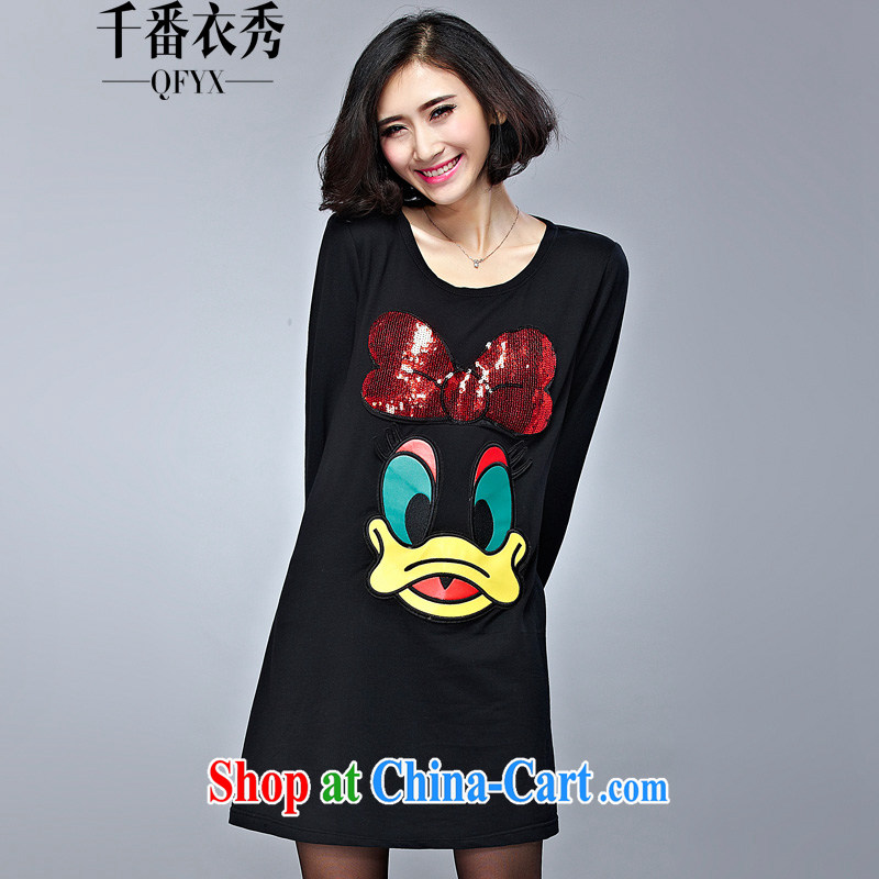 1000 double Yi Su-larger dresses spring new thick mm new and indeed intensify a cartoon, loose, long T-shirt C 1028 black XL