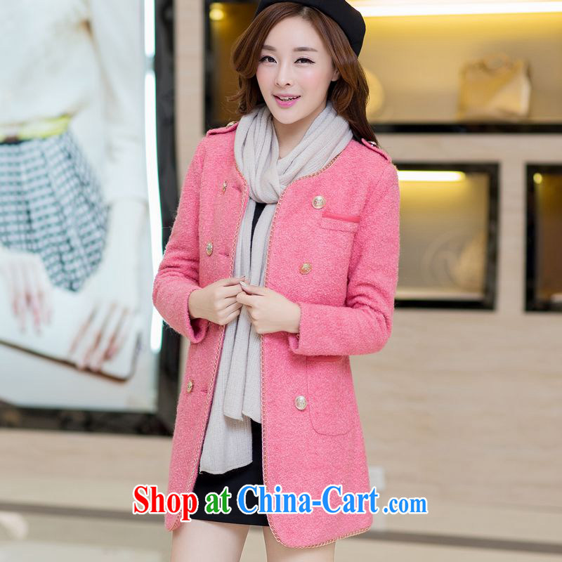 Palau and the United States, focusing on the younger sister, stylish female round-collar, long hair that overcoats supersoft? jacket pink L (recommendations 85 - 100 jack)