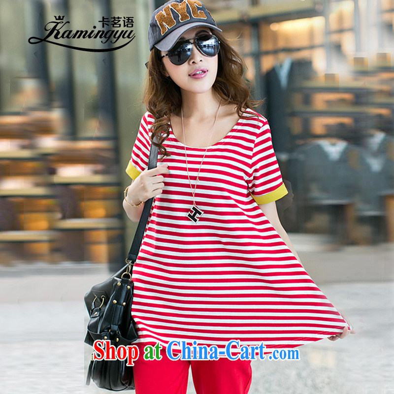 The Tea Culture, Sport Kits pants girls thick M graphics thin large code female summer wear loose the fat and short-sleeved T-shirt female red stripe package XXL