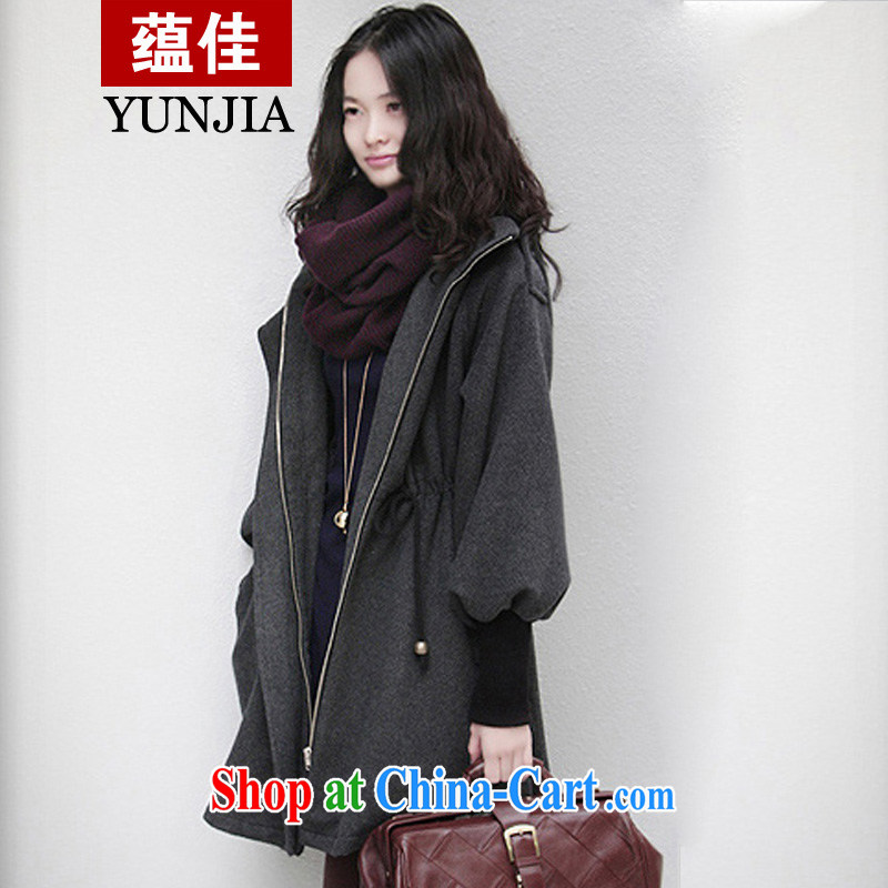 To better 2014 autumn and winter clothes new jacket, and ventricular hypertrophy, female sheep lint-free cloth, clothing and hair so the coat lady cap thicken the cotton, charcoal gray 5 XL