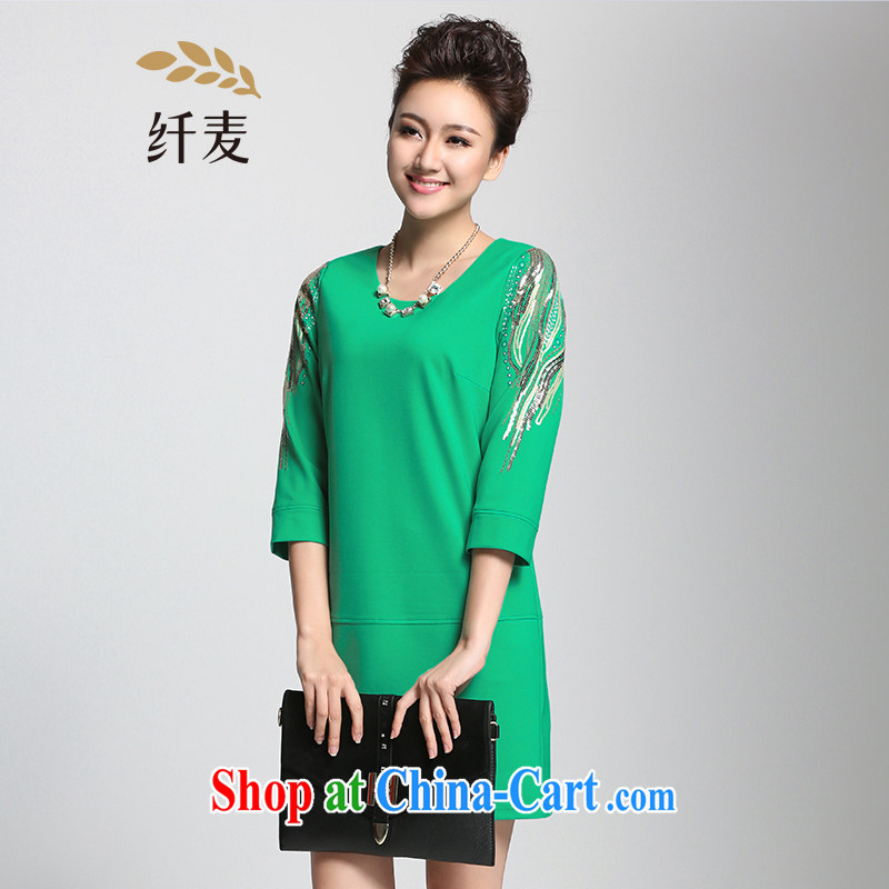The Mak is the women's clothing 2015 spring new thick mm video thin stylish and elegant, dress 951101022 green 3XL