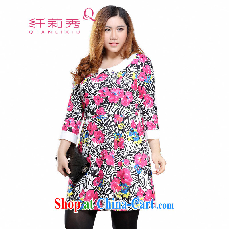 Slim LI Sau 2015 spring new larger female knocked color lapel decorative zebra flowers stamp 7 cuff dress Q 7912 by red 4 XL