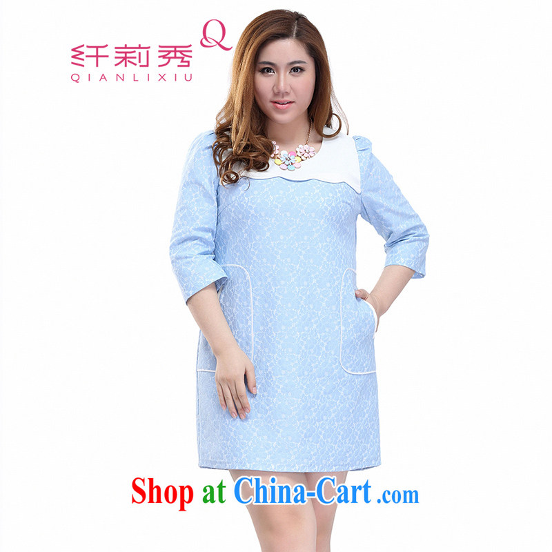 Slim Li-su 2015 spring and summer new, larger female fresh sweet knocked color stitching 7 cuff lace dresses Q 7051 blue 4 XL