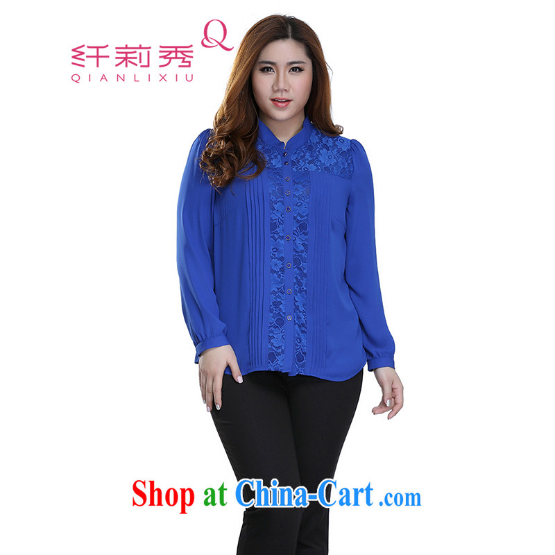 Slim LI Sau 2015 spring and summer new, larger female decoration, graphics thin single-charge-back the collar lace stitching the hem long-sleeved T-shirt Q 7055 color blue 3 XL
