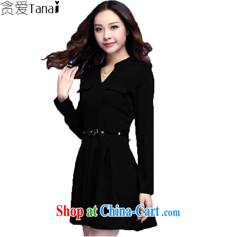 Loved spring new Korean version the commute and indeed increase, female long-sleeved Career Dress 3682 black 4XL