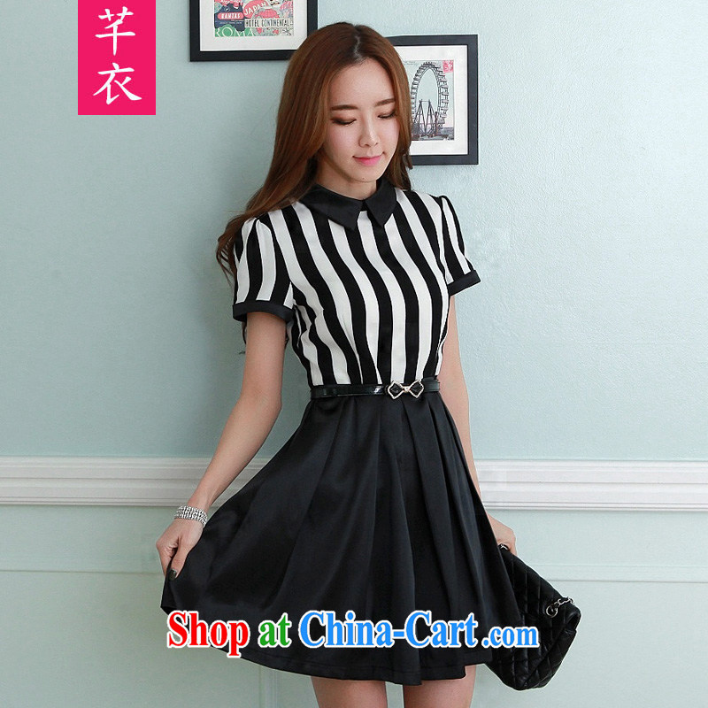 Constitution, 2015 Korean female with thick mm stripes over short-sleeved hem creases with the successive skirts and indeed XL lady-waist graphics thin OL commuter skirt black 2 XL 130 - 145 jack
