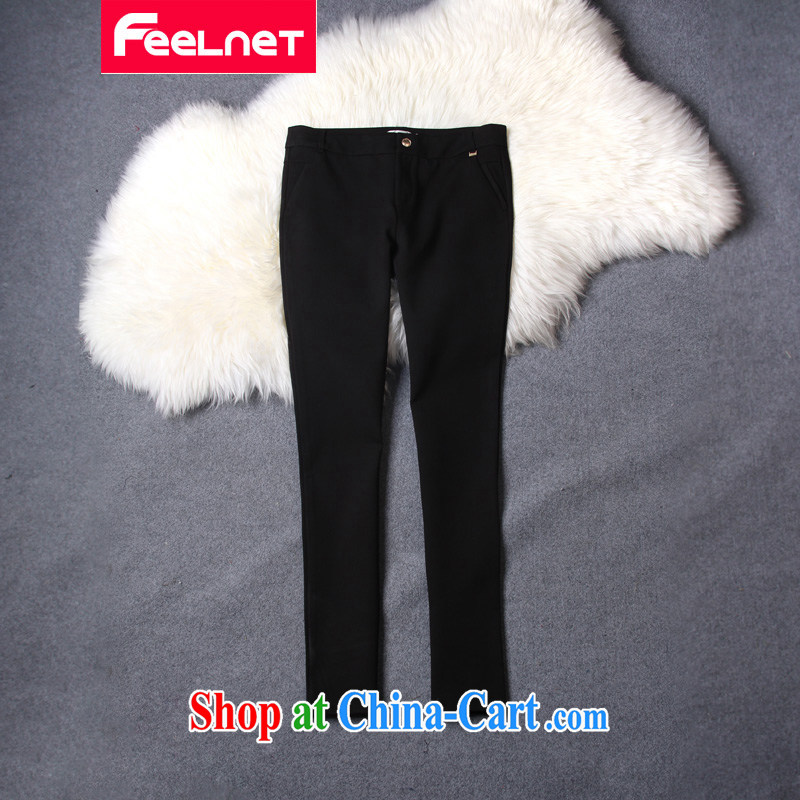 The feelnet code female graphics thin XL Europe and mm thick, waist trousers trousers larger pants 2209. Black 36