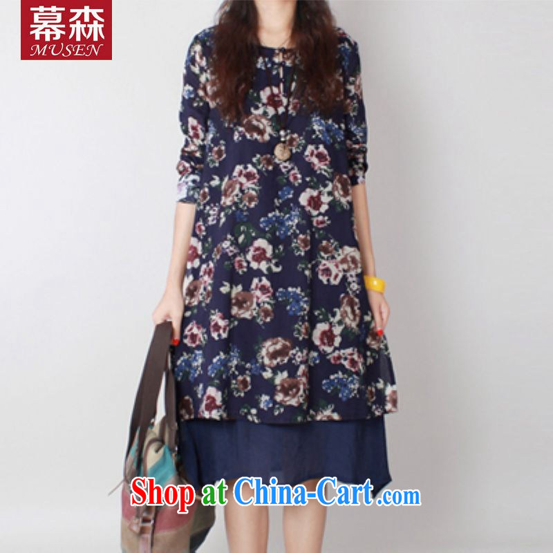 In 2015, spring and summer, women in Europe and the liberal big yards, dresses stamp art van thick MM graphics thin, long dress blue L