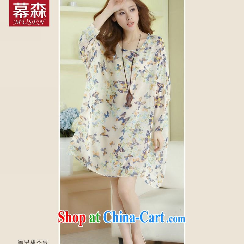 In 2015, spring and summer, female American and European wind loose the code snow stamp duty woven dresses thick MM graphics thin T-shirt short-sleeved T-shirt bat butterfly are code