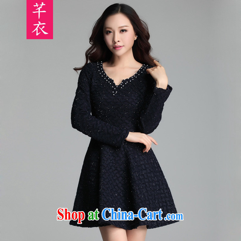 Constitution Yi spring new female 2015 thick sister manually staple pearl cultivation video thin lace long-sleeved dresses and ventricular hypertrophy, the lumbar OL leisure solid blue skirt XL 4 160 - 170 jack