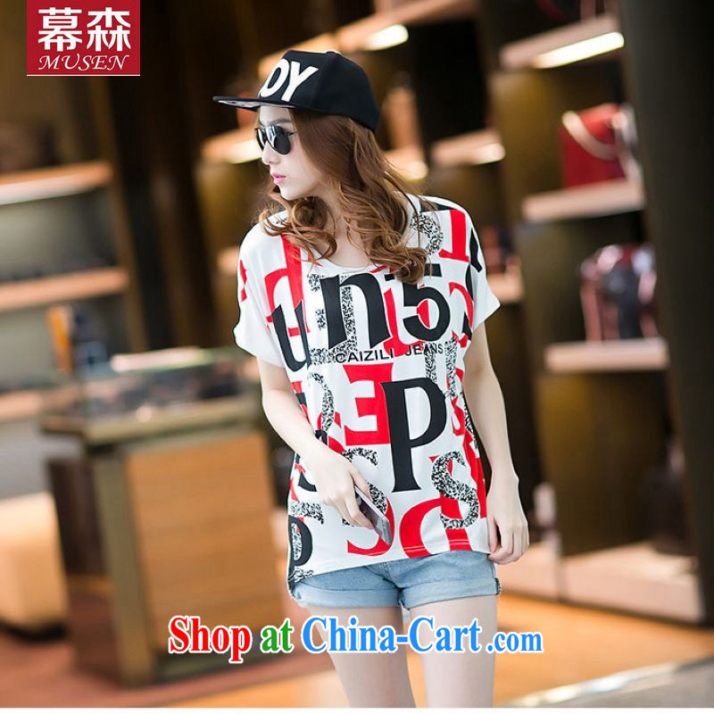 The sum 2015 summer female Korean pure large code 100 hem letter stamp bat sleeves relaxed rules not stitching thick MMT pension 200 jack to white are code