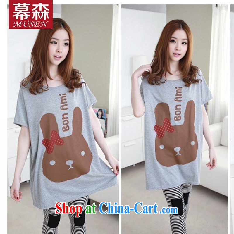 The sum 2015 summer women's clothing Korean version loose the code round-collar Bow Tie cute thumb and double-cuff long version short-sleeved thick MMt pension 200 jack is wearing a gray are code