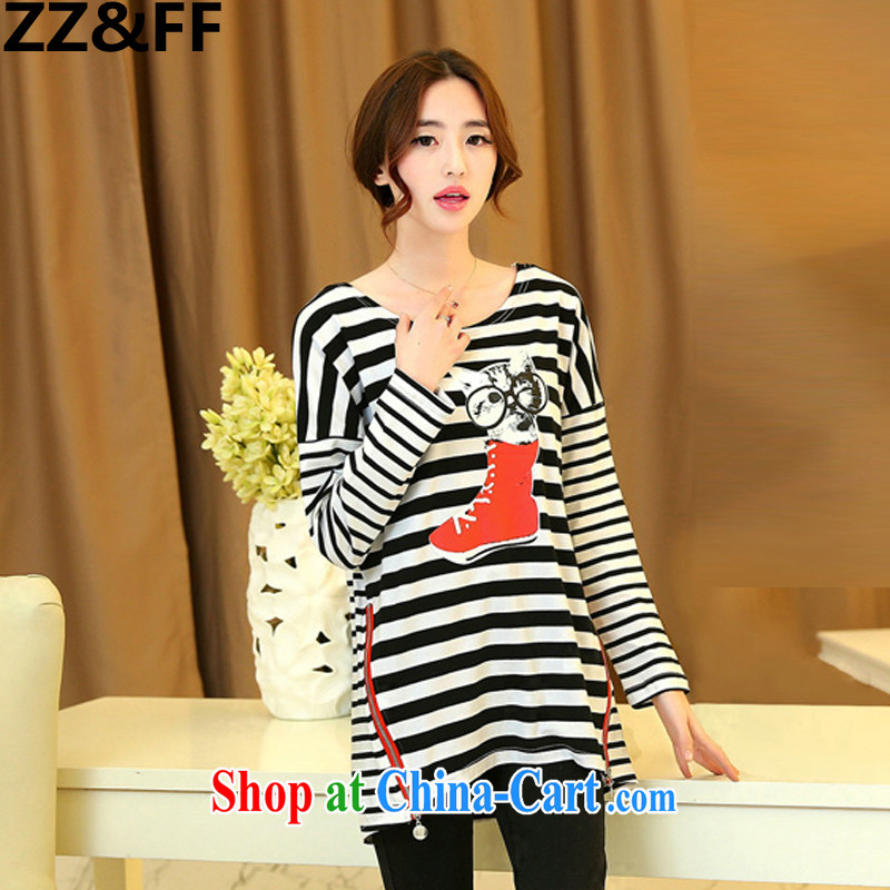 ZZ _FF 2015 spring new and indeed XL female 200 Jack mm thick streaks T long-sleeved shirt loose solid T-shirt printing T-shirt black XXXL