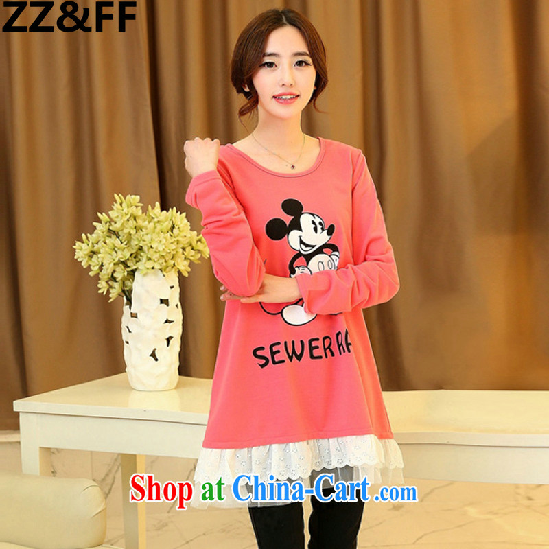 ZZ &FF 2015 spring new and indeed increase, female fat 200 mm jack long-sleeved shirt T solid T-shirt stylish and relaxed a cartoon T-shirt peach XXXL