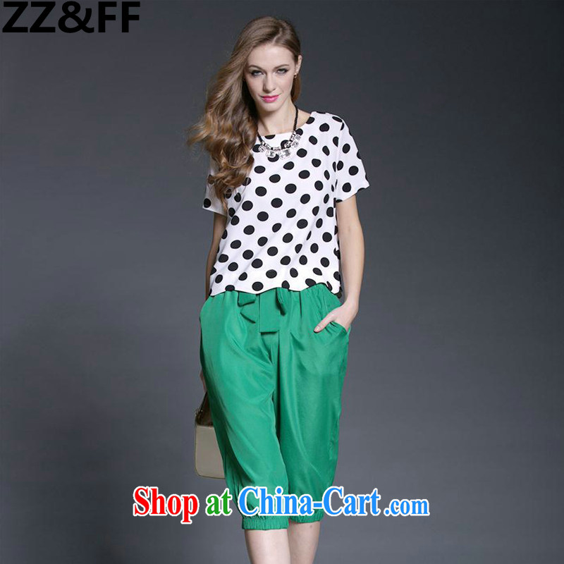 ZZ &FF 2015 the United States and Europe, female summer thick MM new retro dot snow woven shirts, 7 pants two-piece two-piece picture color XL