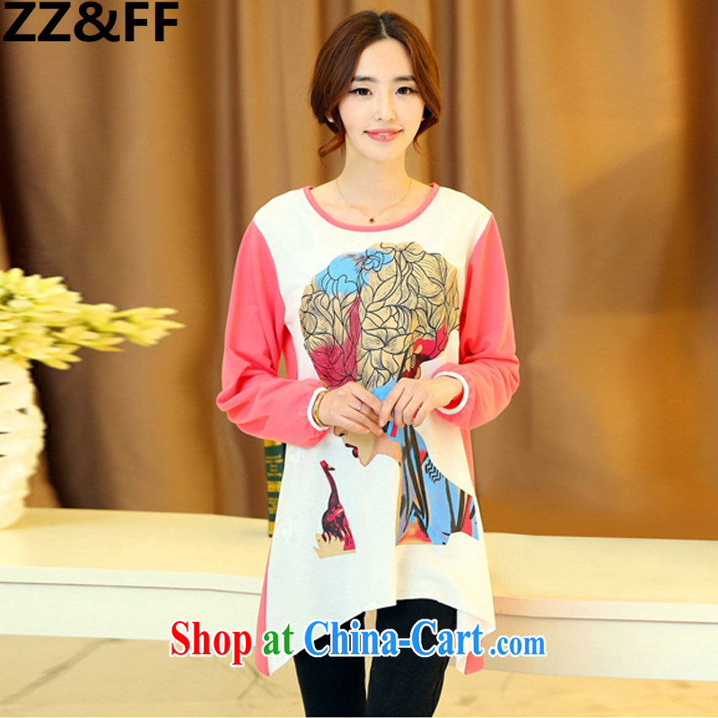 ZZ _FF 2015 summer New, and indeed increase, female 200 Jack thick mm long-sleeved shirt T solid shirt relaxed beauty Avatar T-shirt peach XXL