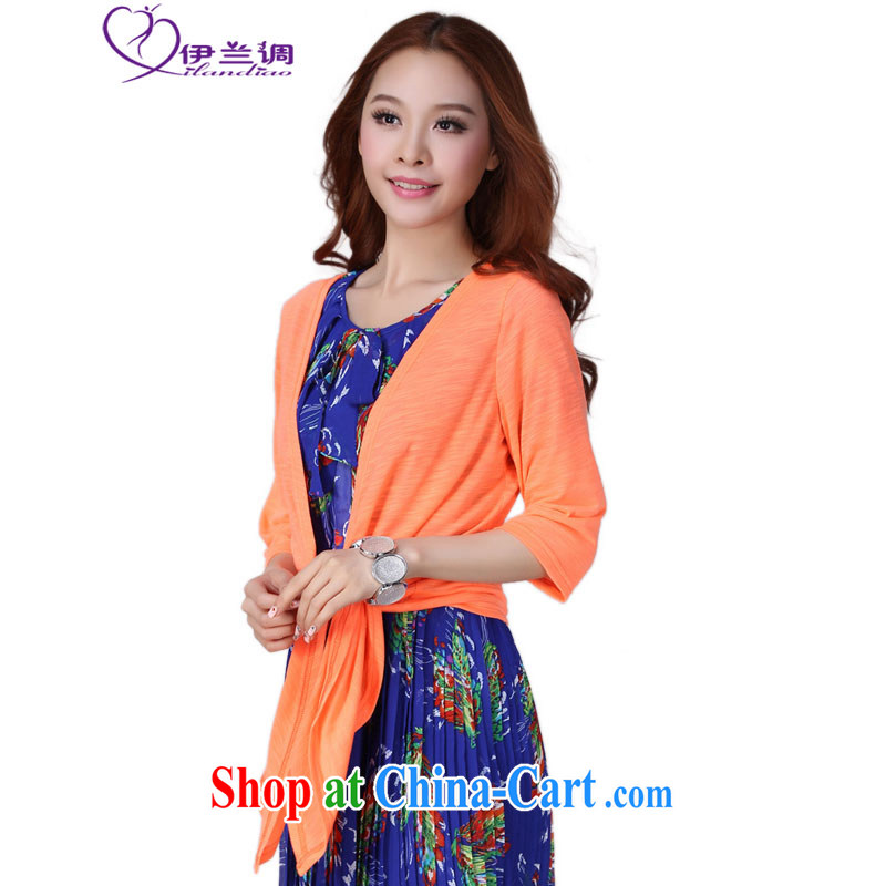The LAN-2015 new summer wear XL girls with sunscreen and clothing air-conditioning T-shirt Han version small jacket shawl thick mm thick long-sleeved among genuine thin cardigan orange XL 120 - 140 jack