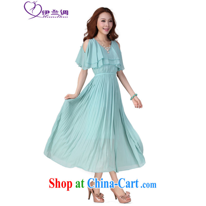 The blue-thick mm summer 2015 new Korean Beauty snow woven skirts thick mm XL female casual terrace 100 shoulder hem resort-waist dress light blue 4 XL 160 - 175 jack