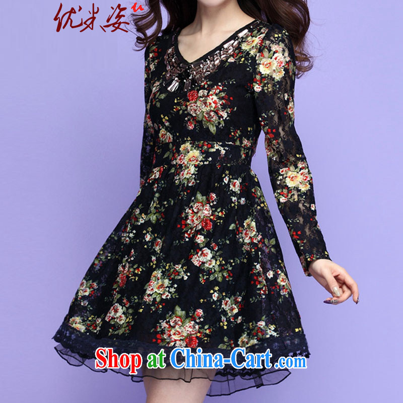 Optimize m Beauty goods to the payment the obesity mm lace dresses spring new V staples for Pearl floral long-sleeved ladies short skirts video thin large code beauty stamp Po blue XXXXL