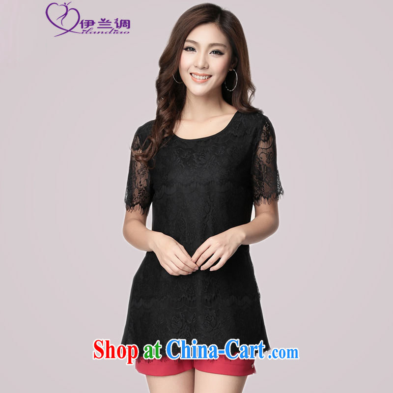The blue-XL women 2015 summer new cultivating short-sleeve long lace shirt thick mm thick, thick sister beauty lady T shirt lace small black 2 XL 145 - 160 jack