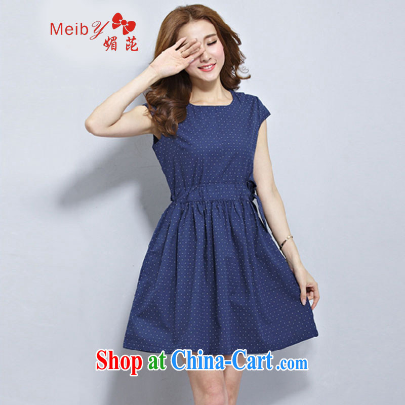 Mei meiby spots at new, larger female stylish 100 ground summer 2015 short-sleeved cotton Ma dresses Art Nouveau small fresh loose long skirt #2926 blue XXL