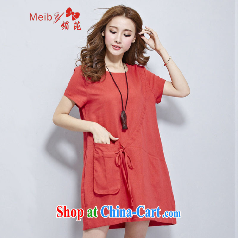 Mei meiby blackspots new larger female stylish 100 ground 2015 summer Korean pocket leisure loose cotton Ma dress 2931 #red XXL