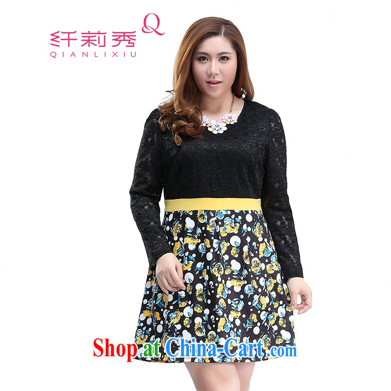 Slim Li-su 2015 spring new, larger female sweet lace round-collar beauty and elegant stamp long-sleeved leave of two garment Q 7905 black 4XL