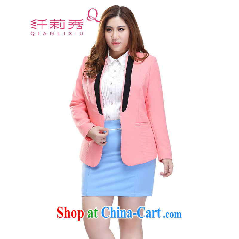 Slim Li-su 2015 spring new larger female Korean version OL Princess cuff stitching long-sleeved jacket Q 7157 pink 4 XL