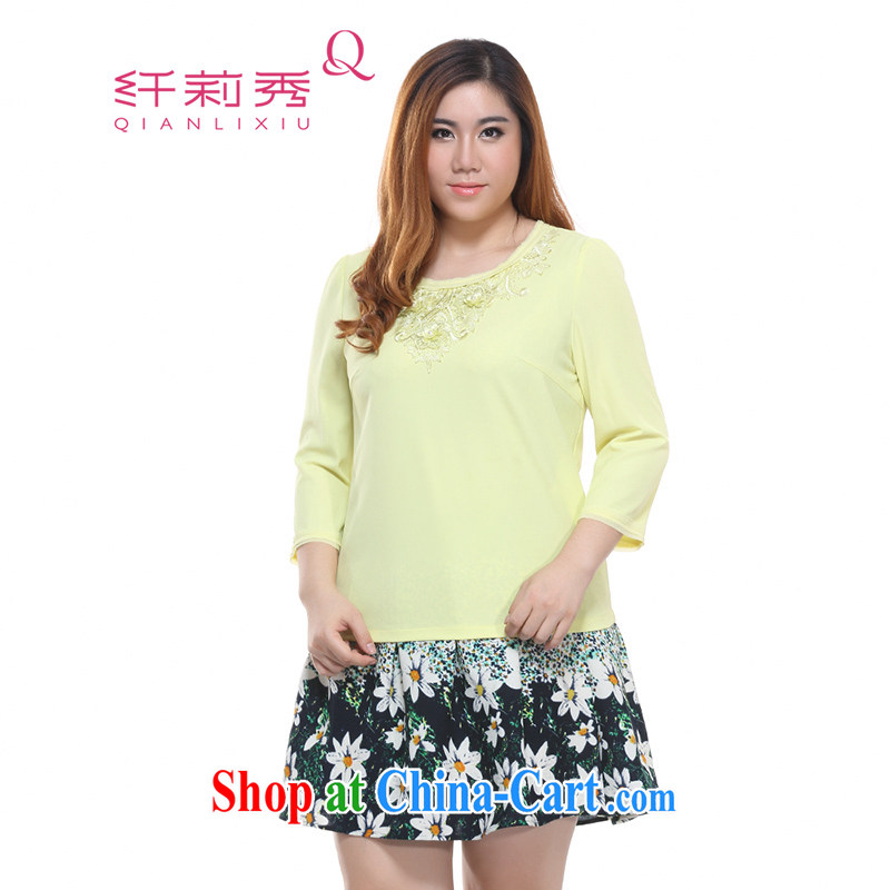 Slim LI Sau 2015 spring new larger female Korean lace flowers 7 cuff round-neck collar and snow-woven shirts T-shirt Q 7175 yellow 4 XL