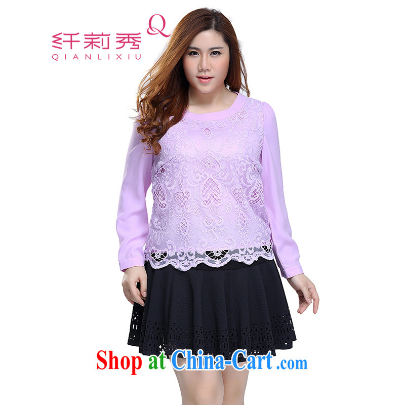 Slim Li Su-2015, new XL girls decorated in thick MM lace stitching long-sleeved and snow-woven lace shirt Q 7316 purple 3XL