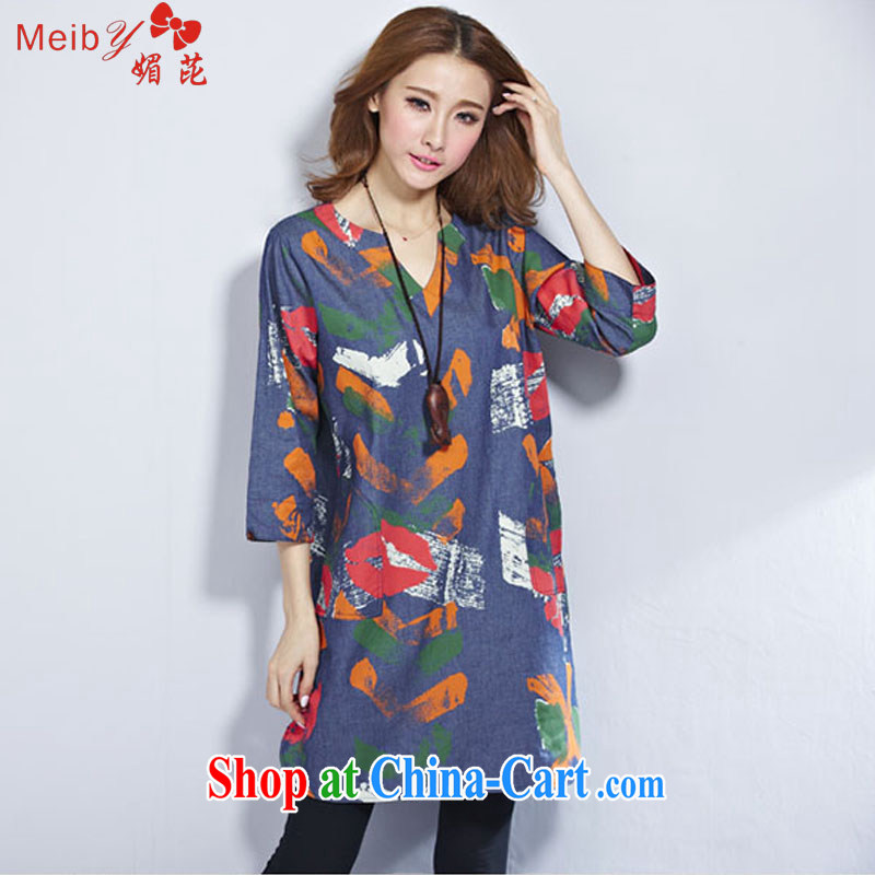 The Code women ground 100 2015 Spring Arts van cotton Ma women loose the code stamp cowboy dress 2956 _red XXL