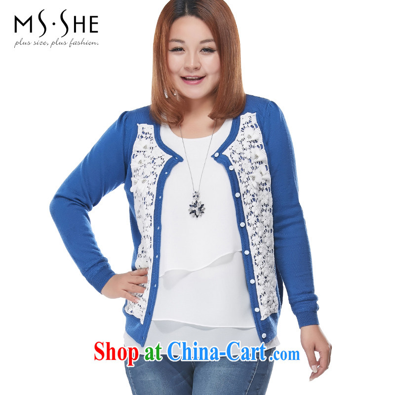 MSSHE XL ladies' 2015 spring lady sweet woolen knitted sweater jacket 7362 color blue 5 XL