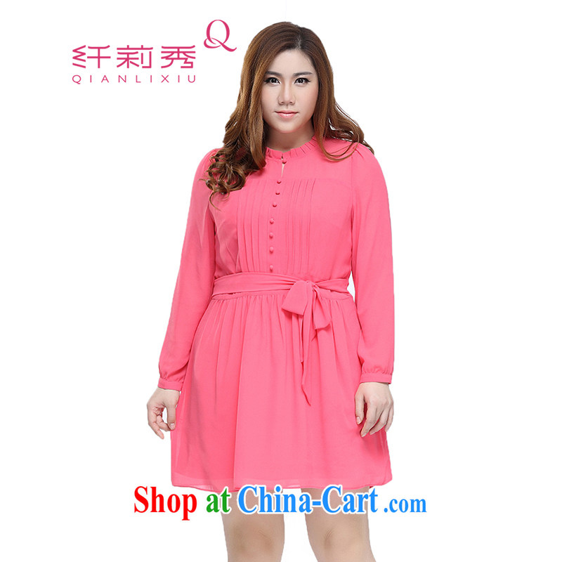 Slim Li-su 2015 spring and summer new, larger female Solid Color bow tie and collar snow woven long-sleeved dresses Q 7233 watermelon red 4XL
