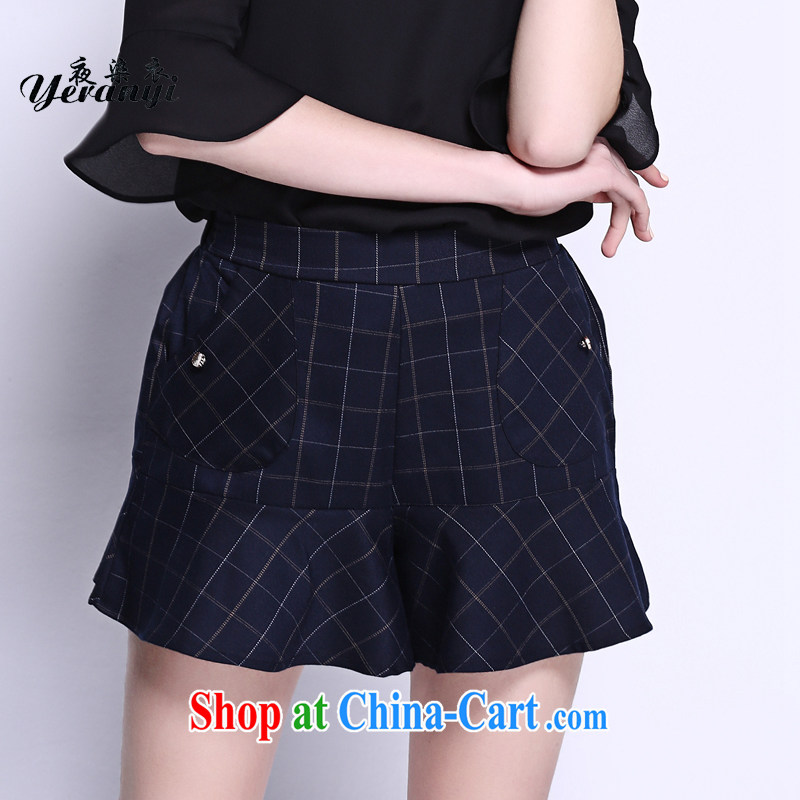 My dyeing clothing spring 2015 new in Europe and America, the female loose video thin elasticated waist pocket 100 ground short skirts trousers dark blue 6 XL _185 - 200 _ jack