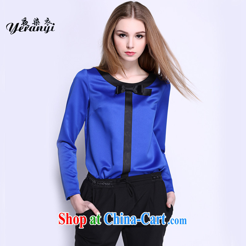 My dyeing clothing spring 2015 new Europe the Code women mm thick loose video thin round-collar stitching T-shirt blue 6 XL _185 - 200 _ jack