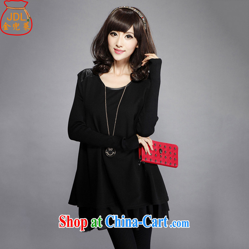 Kim Jong-il, the dresses 2015 spring on the new female Korean fashion beauty the code with long-sleeved dresses J 046 black XXXL