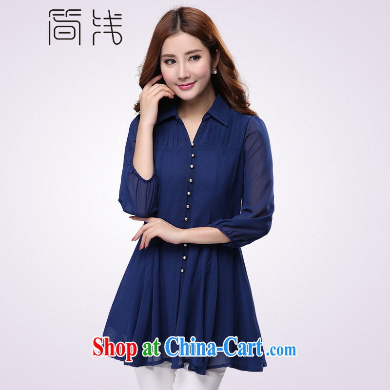 In short light 2015 King, female spring snow woven shirts thick girls with graphics thin, decorated in summer, 7 snow cuff woven shirts, long sleeves shirt, 1191 royal blue 5 XL