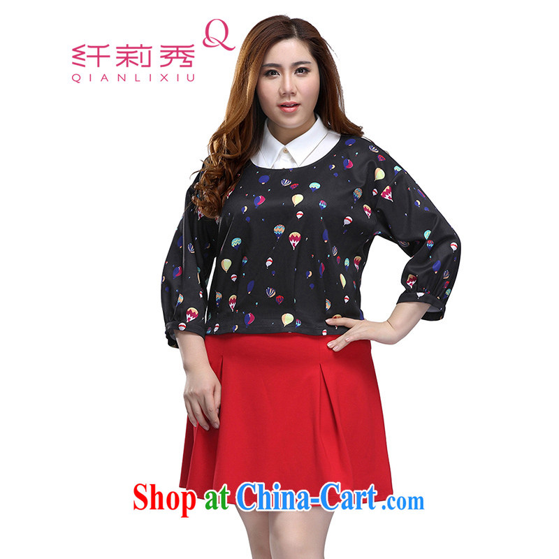 Slim LI Sau 2015 spring and summer new, larger female stamp lapel 7 short sleeve T-shirt, Q 7561 black 2 XL