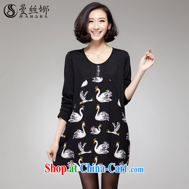 Manchester silk, XL girls thick mm spring 2015 Korean video thin Swan pattern even long-sleeved clothing and skirt black 4XL