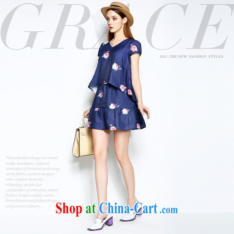 2015 spring and summer new European and American style dress the scenic beauty stamp duty short skirt kit (two-piece) Blue XL