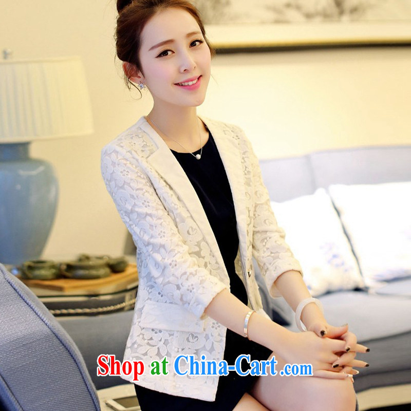 The 618 largest urges -- Spring 2015 new large code female Korean trendy 100 ground sweet t-shirt small suits A 75,138 LQK white A 75,138 maximum code XL