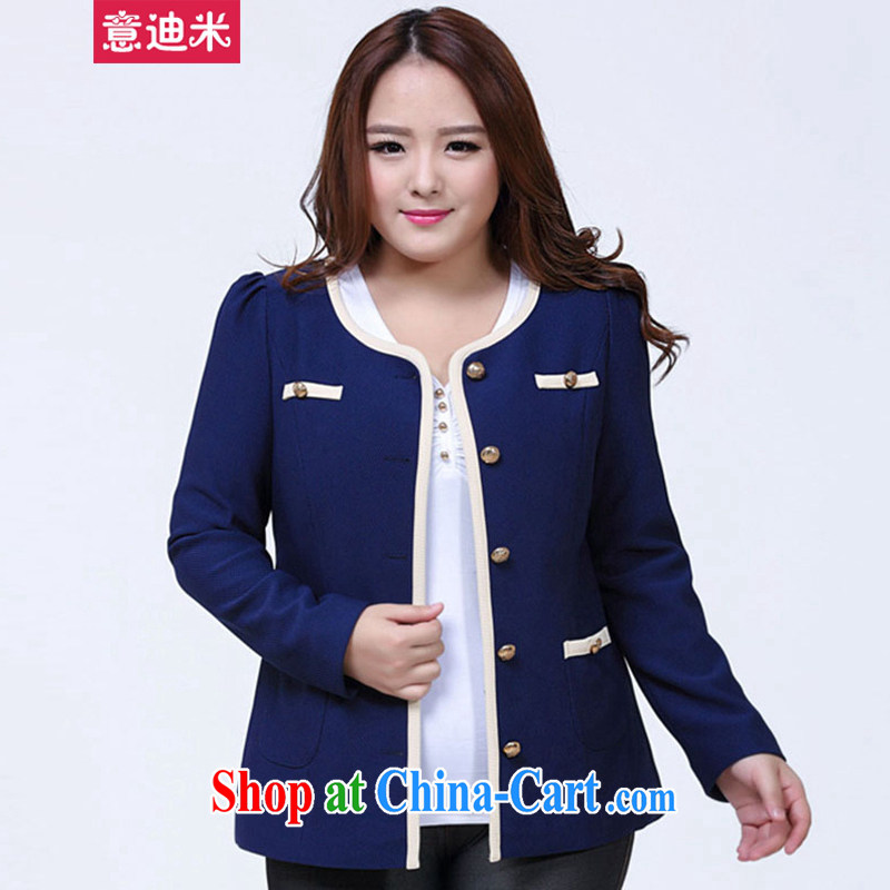 It's Spring and Autumn 2015 new larger female small suits, casual video Thin women jacket C 1 - 1004 blue XXL