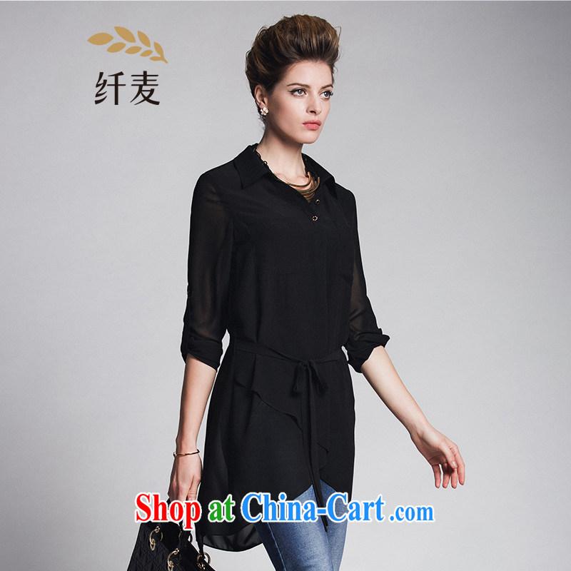 Former Yugoslavia, Mr Big, female 2015 spring new thick mm stylish Korean solid-colored long-sleeved T-shirt 951011199 black 4XL