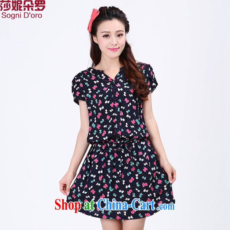Elizabeth Anne flower, the code female summer is the increased graphics thin, stamp duty short-sleeved thick sister summer dresses 6773 spend 4 XL aura lounge,