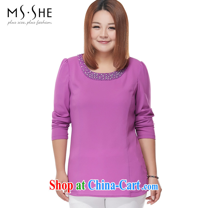 MSSHE XL girls 2015 new spring pin drill lace on the truck round-collar long-sleeved snow woven shirts 2623 purple 2XL