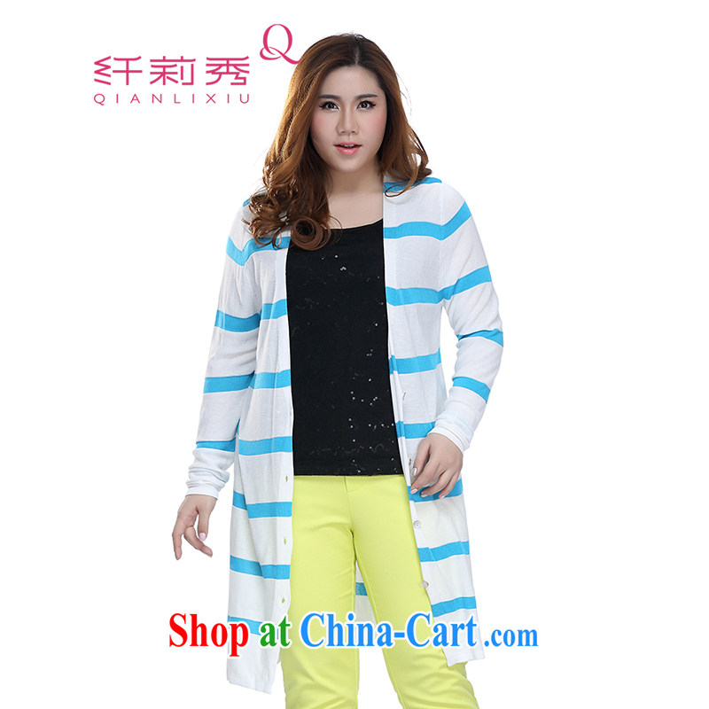 Slim LI Sau 2015 spring and summer new, larger female Korean jacket long large stripes knit-Q 7360 blue and white 3 XL