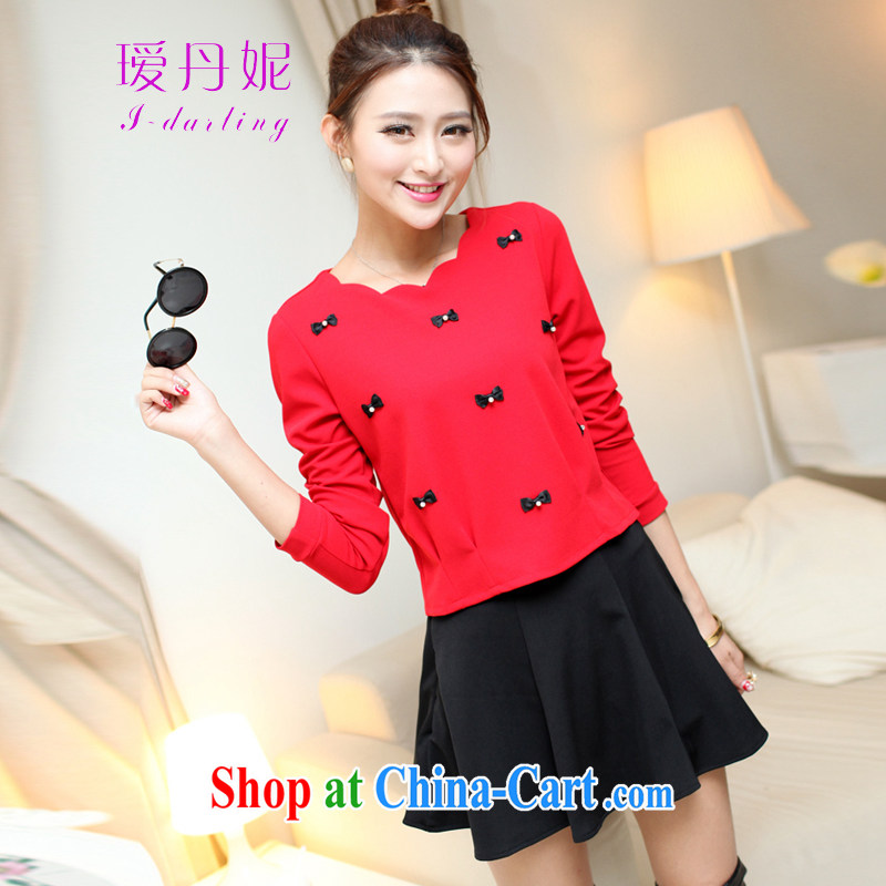 Aihui Denise 2015 spring new, large, two-piece nail Pearl solid long-sleeved T-shirt on 100 mm hem skirt dress set girl solid skirt F 01 red T-shirt + black skirt XXL