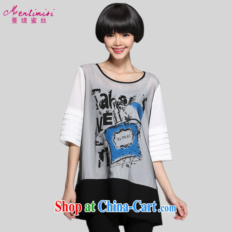 Mephidross economy honey, 2015 spring new and indeed increase, female fashion perfume stamp graphics thin tower, HEM T shirt 1309 picture color the code 5 XL 200 Jack left and right