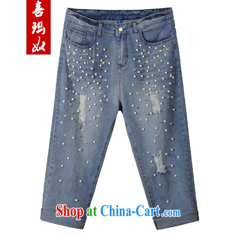 Hi Princess slave summer 2015 new Korean version the Code women in blue jeans pants staples beads worn out cowboy 9 pants 7 pants M 15,029 blue 40 200 Jack left and right through